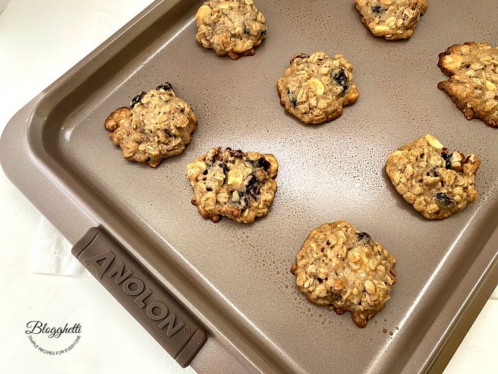 Cranberry Pecan Oatmeal Cookies cooling on baking sheet
