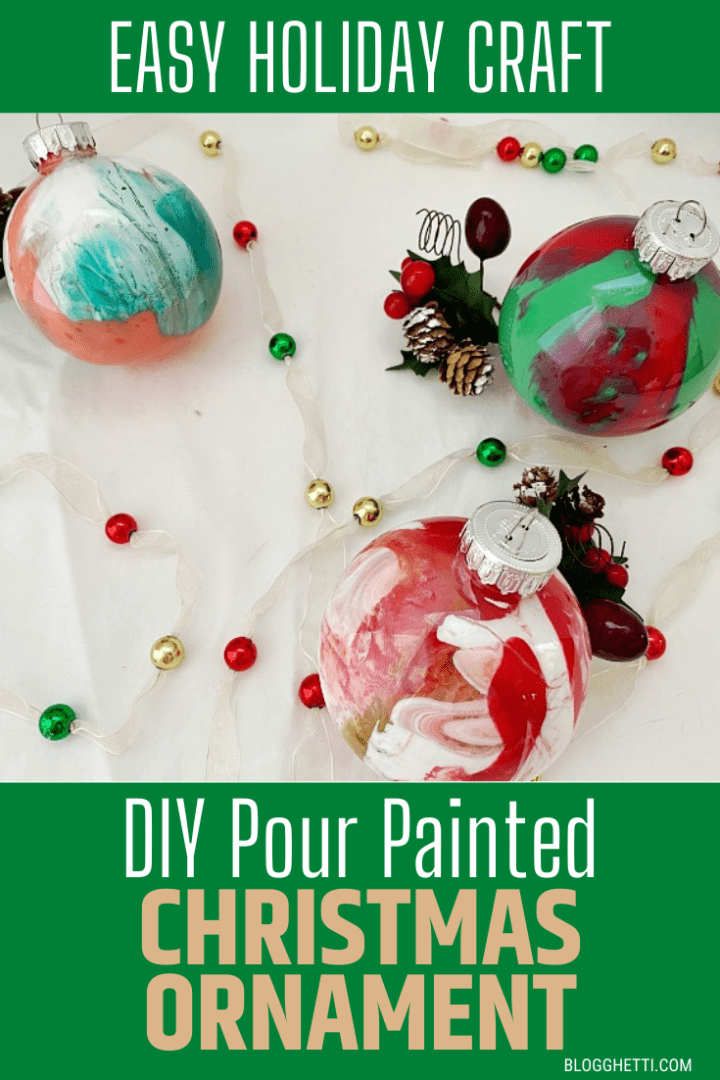 DIY Pour Painted Christmas Ornament with text overlay