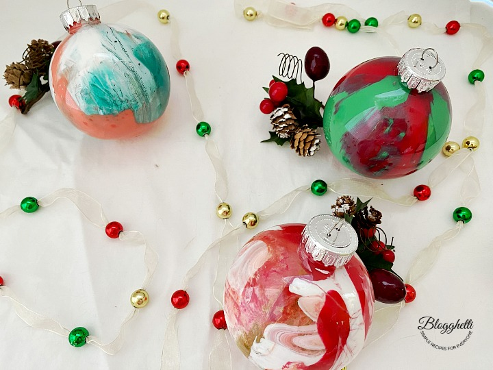 DIY Pour Painted Christmas Ornaments