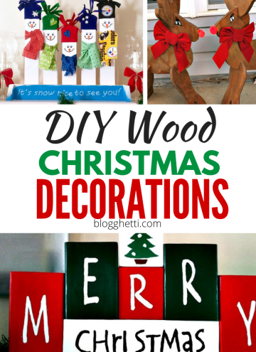 DIY Wood Christmas Decorations with text overlay