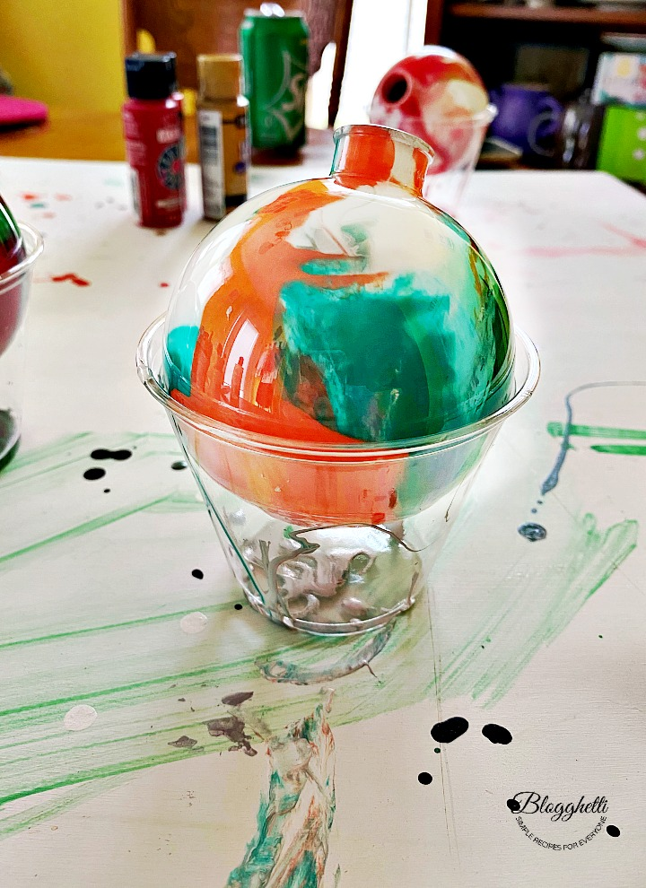 pour painted ornament drying
