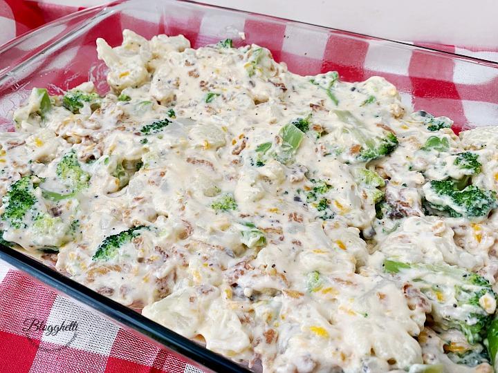preparing broccoli and cauliflower casserole
