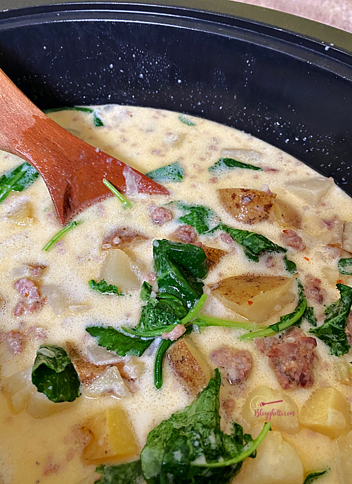 Slow Cooker Zuppa Toscana ready to serve