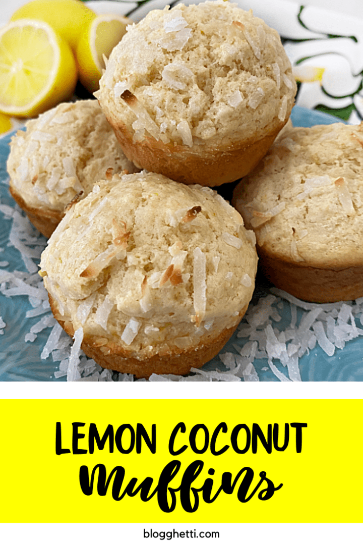 lemon coconut muffins with text overlay