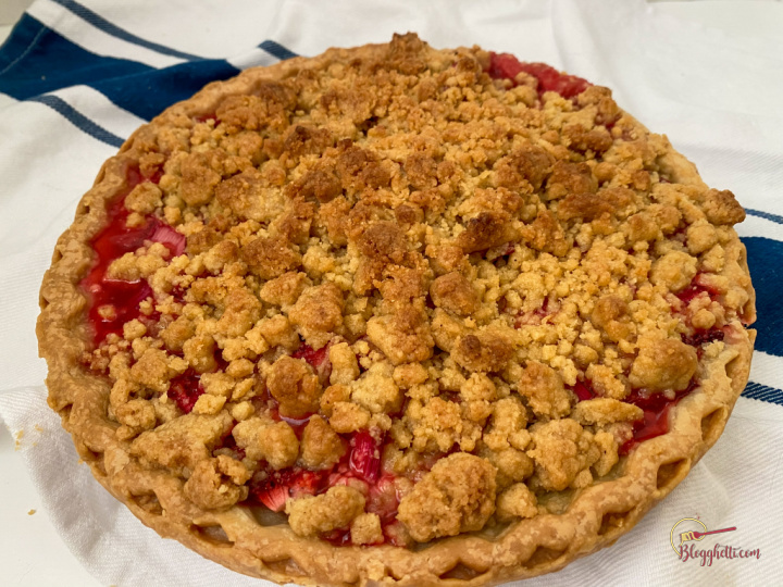Close up of whole pie - strawberry rhubarb
