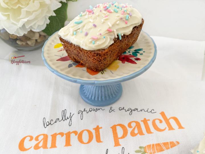 mini carrot cake with sprinkles on blue platter