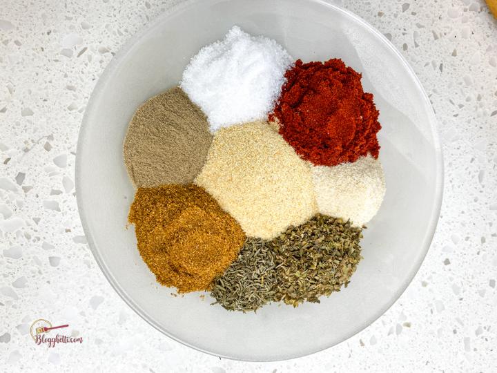 Cajun seasoning mix on white plate