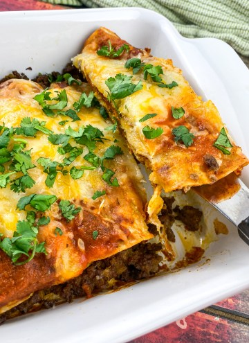Easy Beef Enchiladas ready to eat