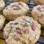 ham, cheese and rosemary scones on cooling rack