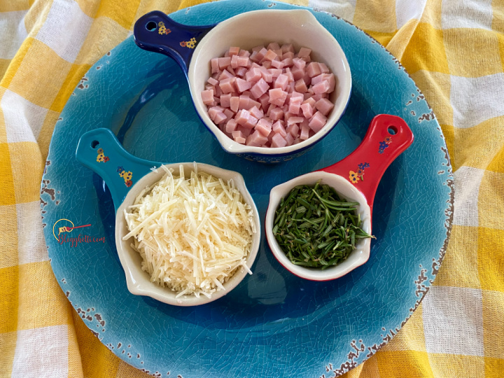 main ingredients in the scones - ham, cheese and rosemary