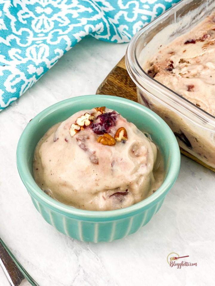 bowl of cherry pecan ice cream
