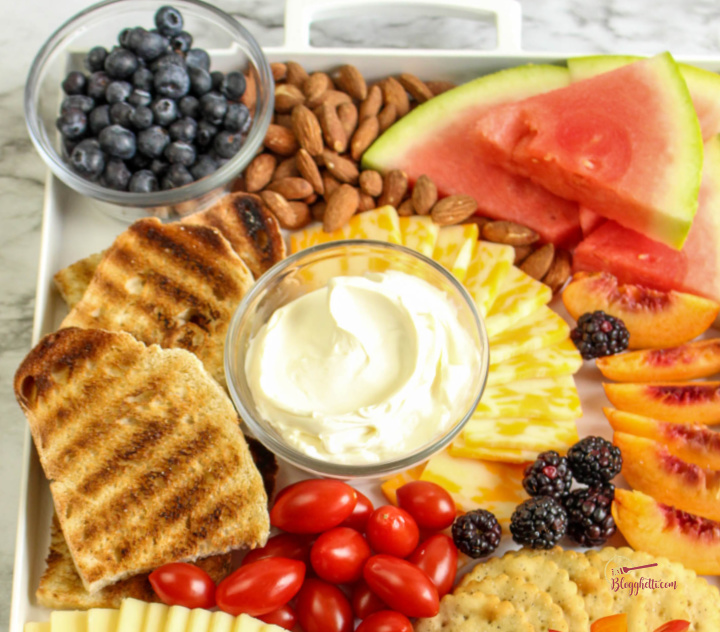 close up of snack tray