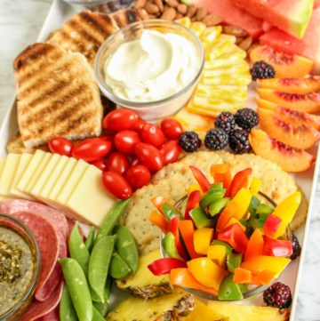 summer charcuterie board with fruits and veggies