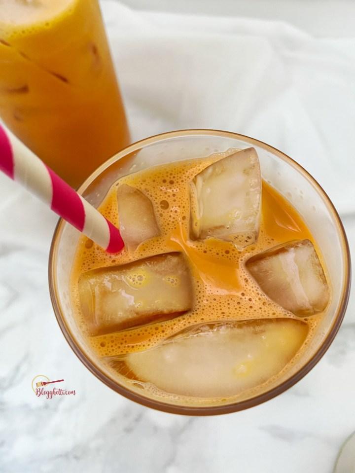 close up of Thai iced tea