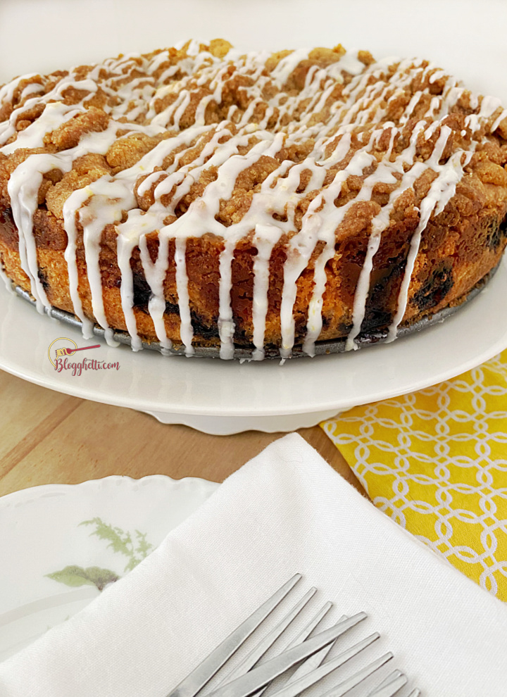 blueberry muffin cake on cake plate