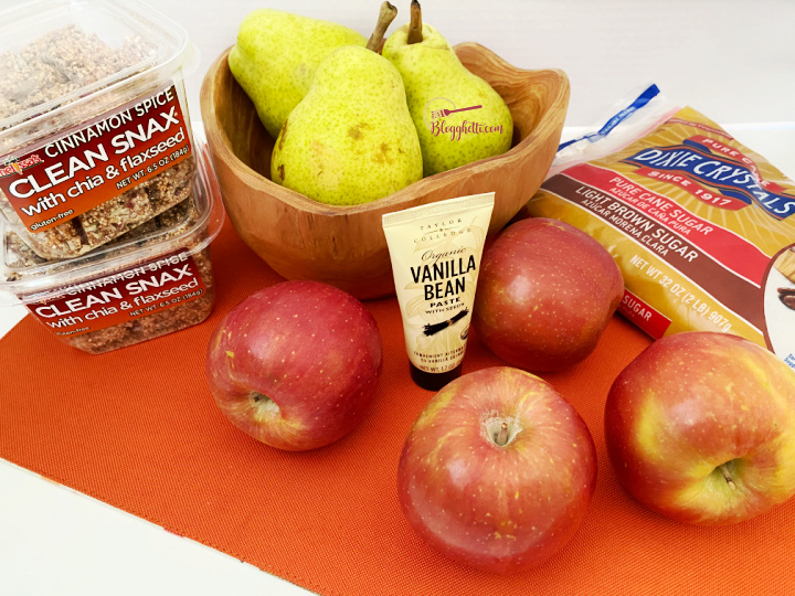ingredients for apple pear crisp