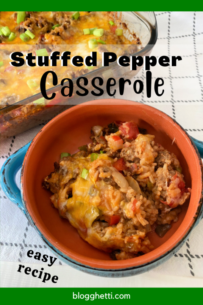 stuffed pepper casserole image with text overlay