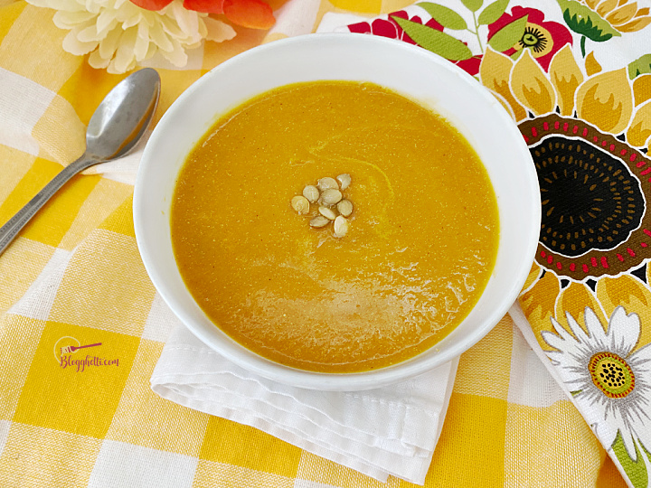 white bowl filled with Butternut Squash Soup
