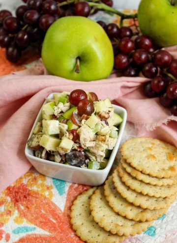 Fancy Chicken Salad with Grapes and Apples, crackers