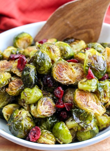 roasted balsamic brussel sprouts in white serving bowl