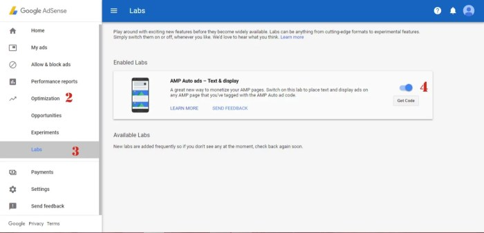AdSense AMP for Auto Ads in Labs