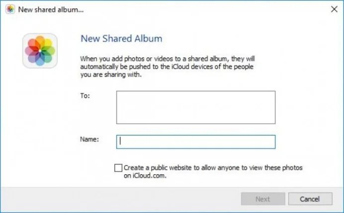 Creating a shared album on iCloud for windows
