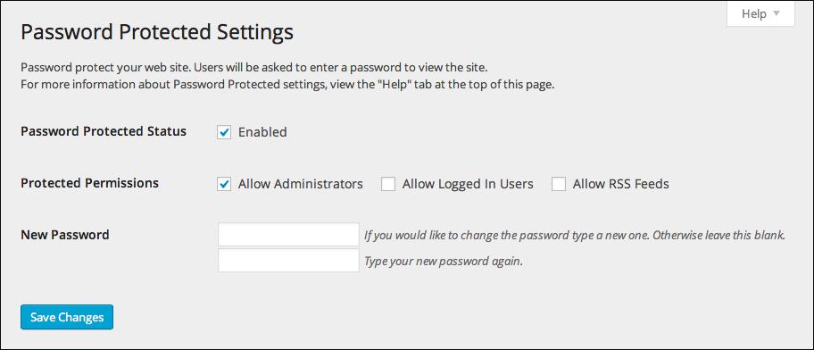 Passwortgeschützte WordPress-Plugin-Einstellungen