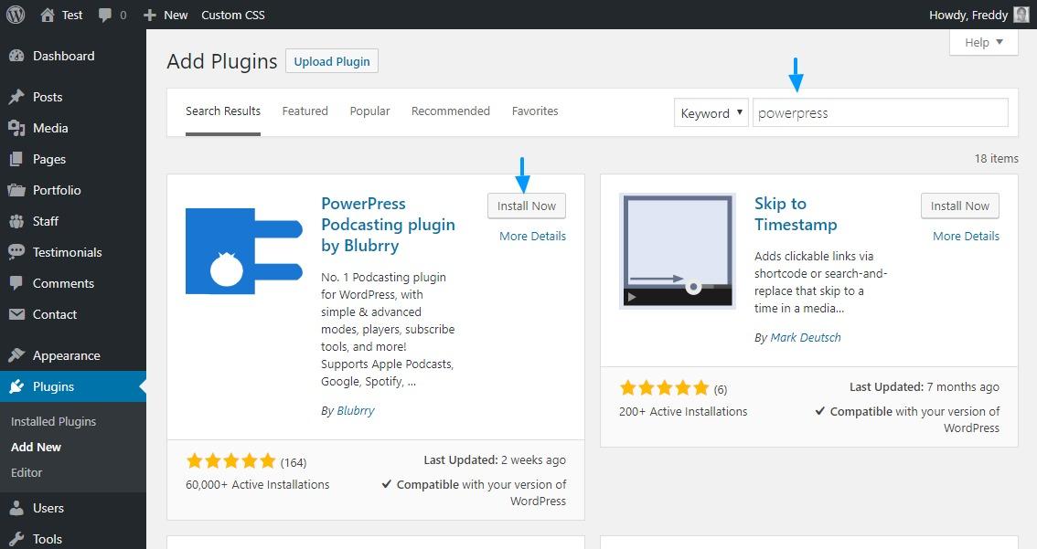 Installieren des Powerpress WordPress Plugins