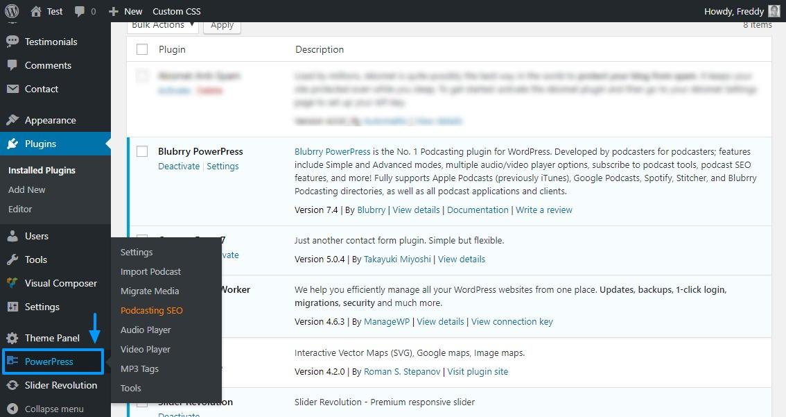 Powerpress Podcasting Plugin im WordPress Admin Menü