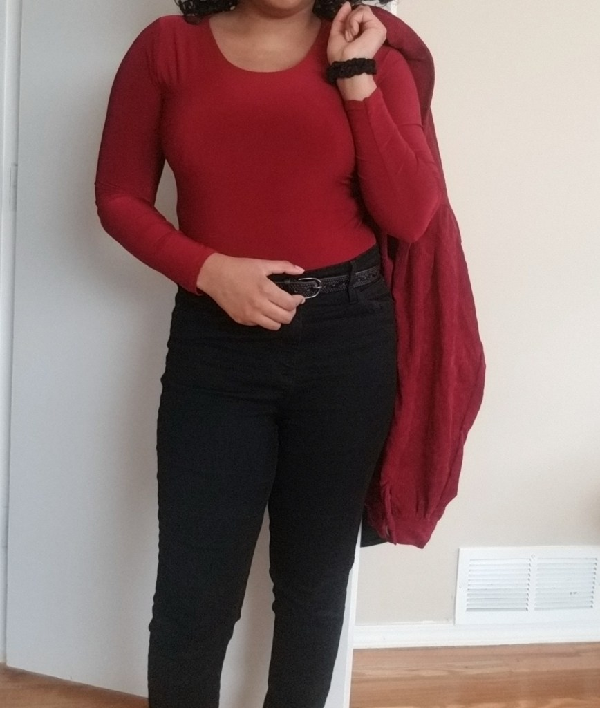 burgundy black outfit
