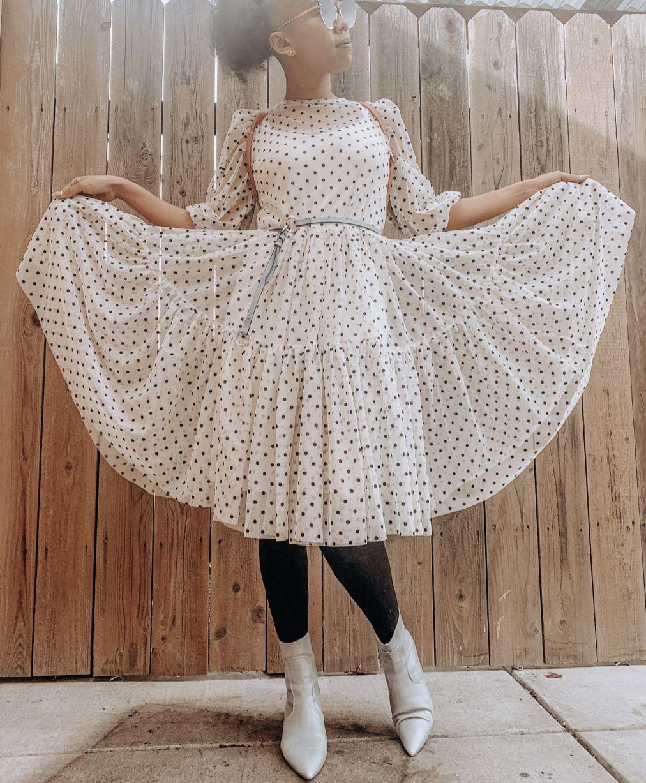 Flock-Print Mesh Dress - in white/black