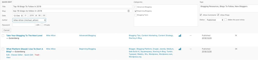 Access quick changes to blog posts with the WordPress Quick Edit.