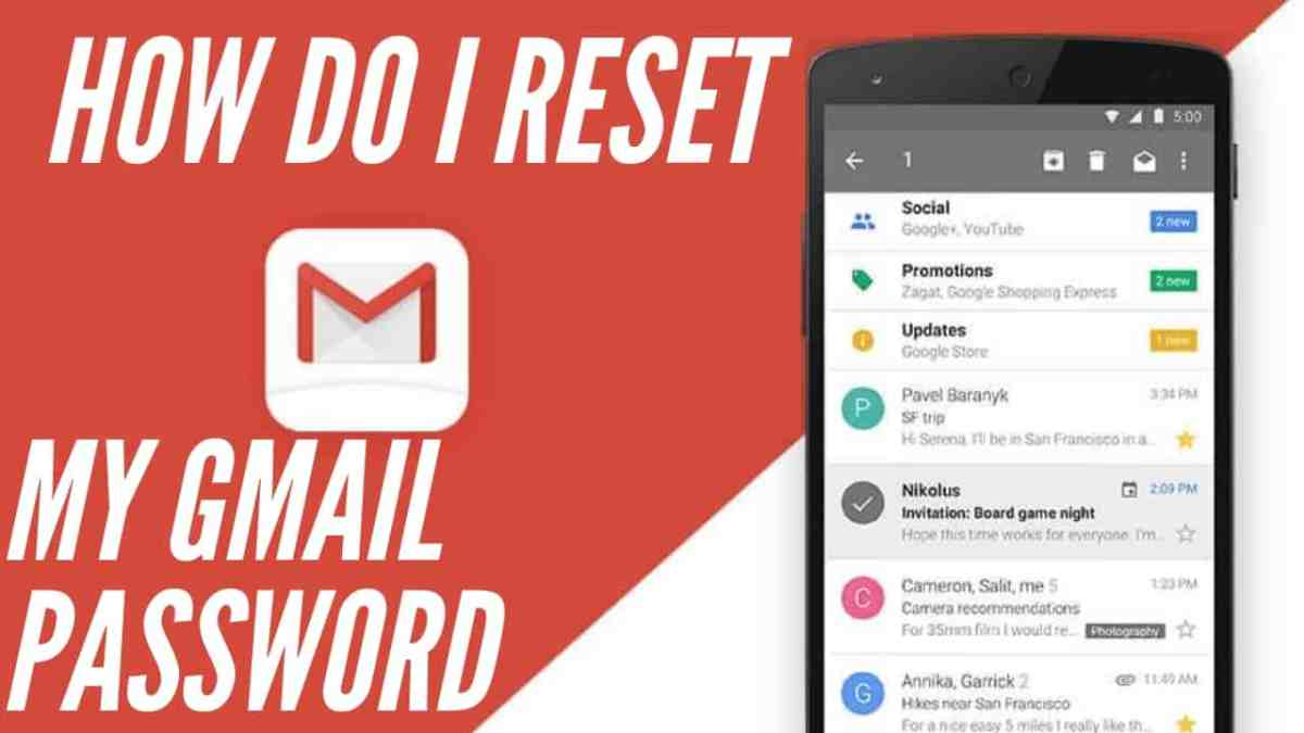 resetting my gmail password