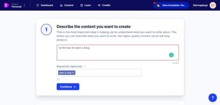 jarvis.ai long-form assistant describe your content