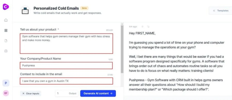 jarvis.ai review: Personalized cold email