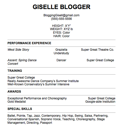dance resume  Pull It Together Giselle