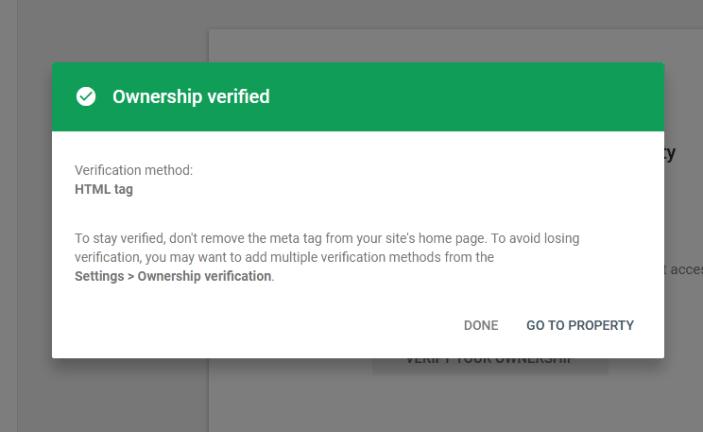 Google search console verification successful