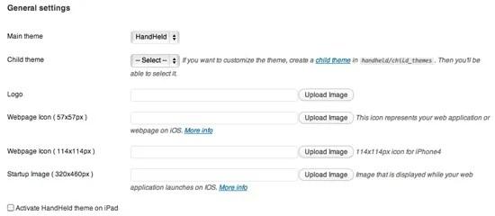 HandHeld Mobile theme Plugin Setting Page in WordPress