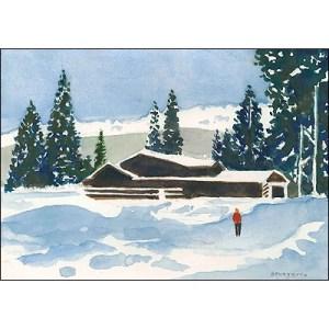 Tony Bennett Christmas card painting