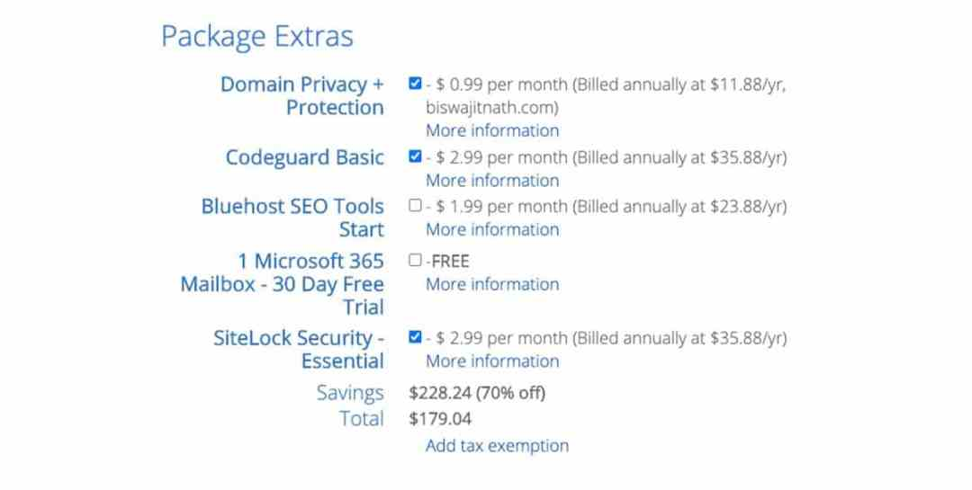 Bluehost Package Extra