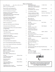 Spring 2013 VWM table of contents