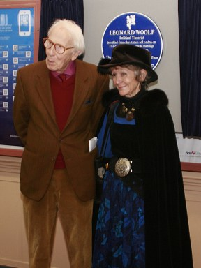 Cecil Woolf and Jean Moorcroft Wilson at Frome Station after the unveiling of the blue plaque commemorating Leonard Woolf's proposal to Virginia Stephen.