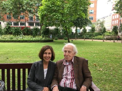 Cecil and I on a bench in Tavistock Square garden. Virginia and Leonard lived at 52 Tavistock Square from 1924-1939.