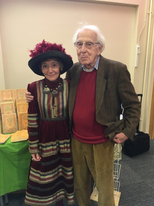 Jean Moorcroft Wilson and Cecil Woolf with their display of Bloomsbury Heritage monographs at the 2016 Woolf conference