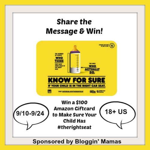 Spread the Message and Win! Help everyone make sure they have #therightseat for their child. Giveaway ends 9/24/15. US 18+
