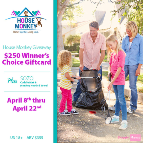 House Monkey Giveaway- Win $250 Winner's Choice Giftcard, SOZO monkey hooded towel and playmat. AEV $355. US 18+. Ends 4-22-16.