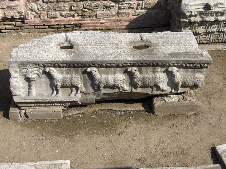 Hagia Sophia,remains of the older basilica, built under emperor Theodosius II; Istanbul, Turkey