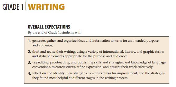 Grade 1 - Writing