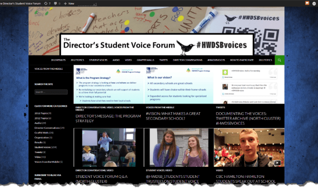 Re-designing the Director's Student Voice Forum Blog