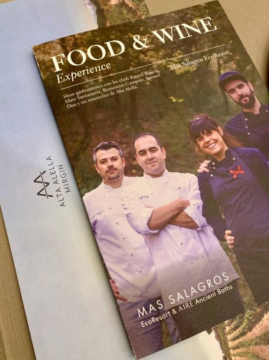 Menú de la Mas Salagros Food & Wine Experiencie